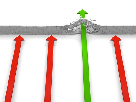 Four arrows coming to an obstacle, only on breaking through, concept of achievement photo