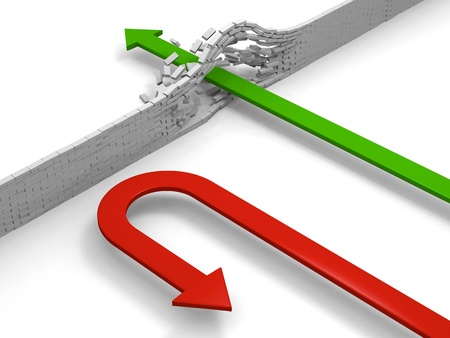 Red arrow breaking through obstacle while the other one turns back, concept of achievement versus giving up. photo