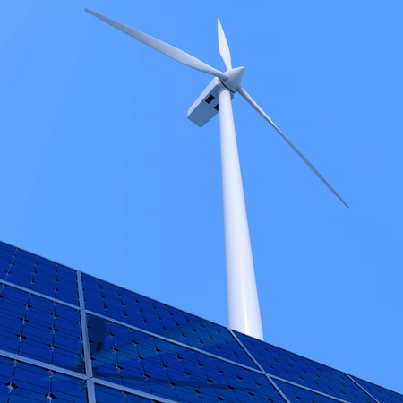 Solar panel and wind turbine on blue background photo