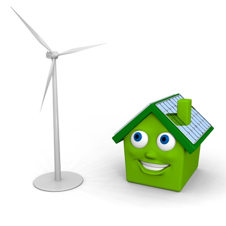 Happy little green house with solar panels on the roof with model of a wind turbine photo