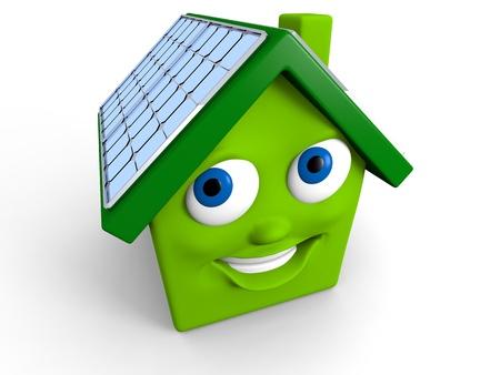 幸せな緑の家の屋根にソーラー パネルと