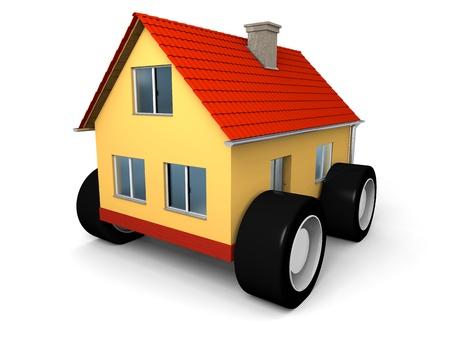 Klein familie huis op wielen klaar om te verhuizen Stockfoto