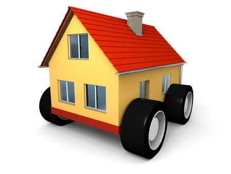 Small family house on wheels ready to move Stock Photo