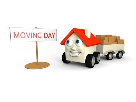 gospodarstwo domowe: Happy little dom na kółkach jest jego ruchoma dni Zdjęcie Seryjne