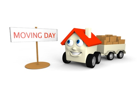 wheel house: Happy little house on wheels is its moving day Stock Photo