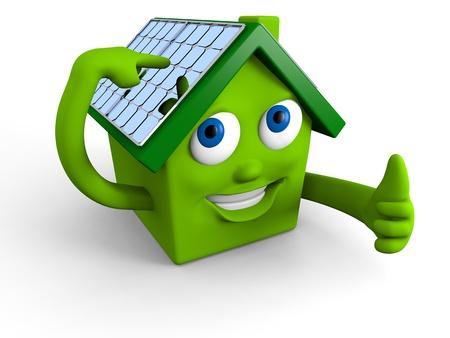 幸せな緑の家、屋根の上の太陽電池パネルの表示 写真素材