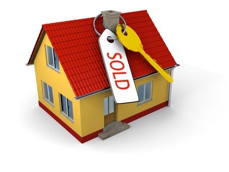 """sold small: Chiave con tag dire """"venduto"""" sulla piccola struttura familiare"""