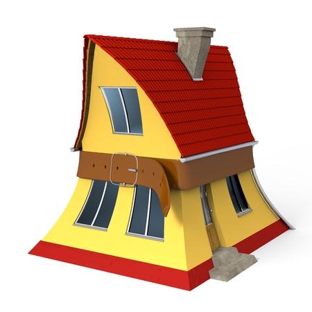squeezed: Casa pellizcarse con el cintur�n apretado Foto de archivo
