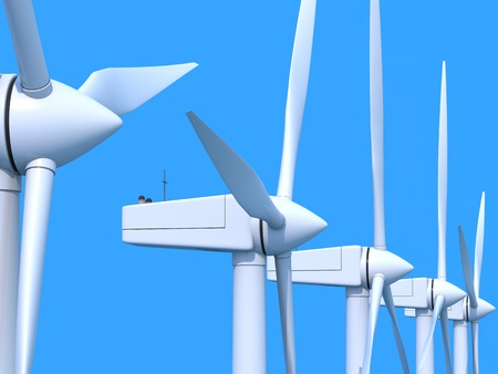 electric power station: Row of wind power generators on blue background