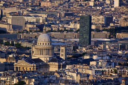neoclassic: Latin Quarter with Panthéon in Paris seen from the top of Tour Montparnasse Stock Photo