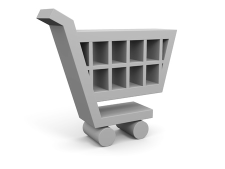 3D illustration of shopping trolley symbol on white background Stock Illustration - 12454914