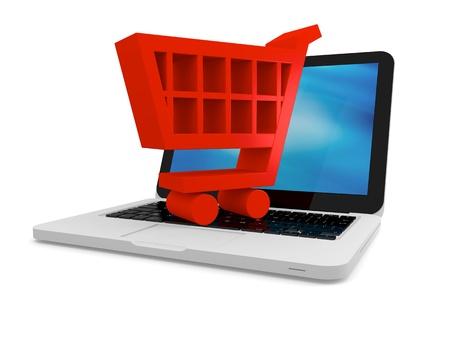 pushcart: 3D illustration of shopping cart symbol on a laptop