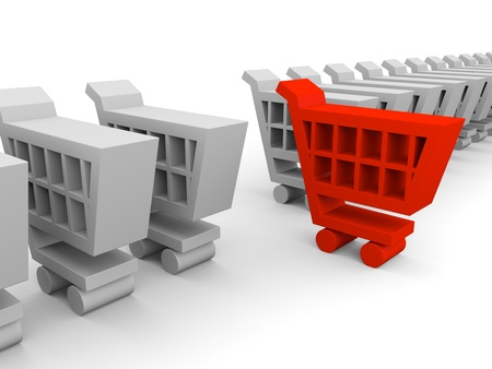 One red shopping trolley in between endless row of grey shopping carts Stock Photo - 12454928