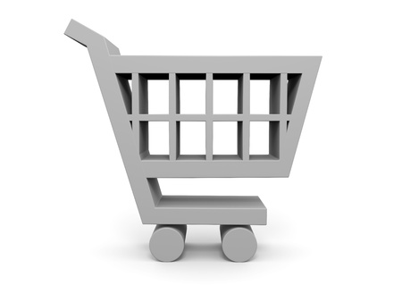 pushcart: 3D illustration of shopping trolley symbol on white background