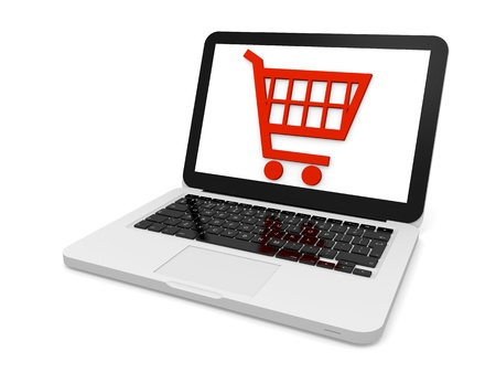 Symbol of shopping trolley on laptop screen
