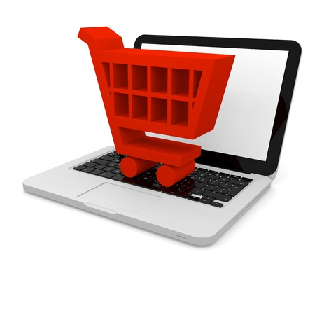 3D illustration of shopping trolley symbol on a laptop Stock Illustration - 12454925