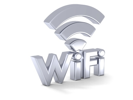 3D illustration of silver shiny WiFi symbol
