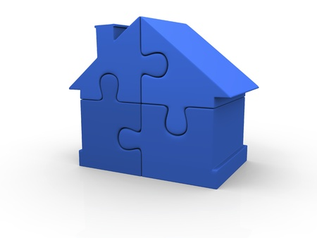 House symbol made of four blue puzzle pieces Archivio Fotografico