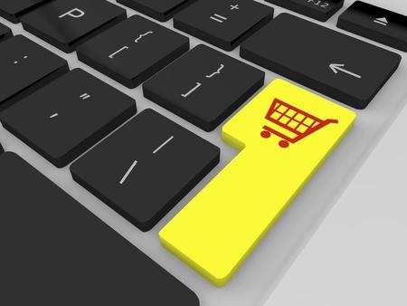 黄色ショッピング トロリーのシンボルとキーを入力します。