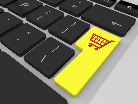 Yellow enter key with symbol of shopping trolley