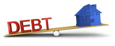 mortage: Concept of debt heavier than house
