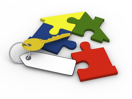 House symbol made of four colorful puzzle pieces and golden key Stock Photo - 12454954