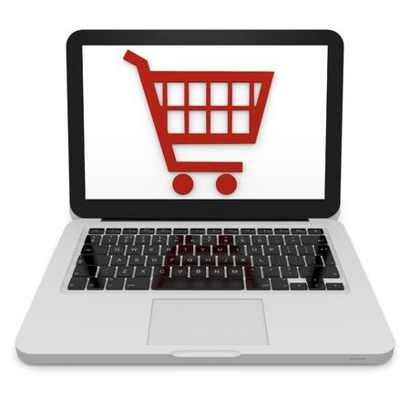 3D illustration of shopping trolley symbol on a laptop Stock Illustration - 12454975