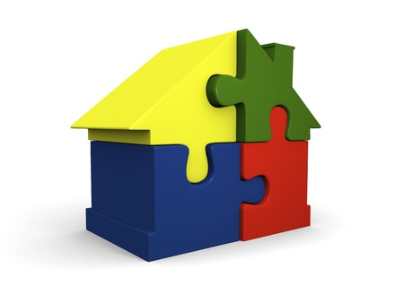 not lined: House symbol made of four colorful puzzle pieces not lined up