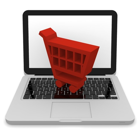 3D illustration of shopping trolley symbol on a laptop Stock Illustration - 12454971