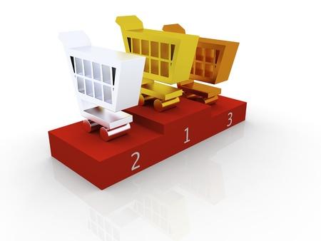 3D illustration of shopping trolley symbols as top three contestants Stock Illustration - 12454959