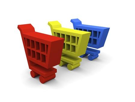 3D illustration of colorful shopping trolley symbols on white background Stock Illustration - 12454955