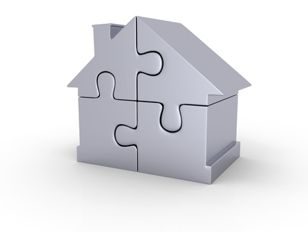 House symbol made of four shiny silver puzzle pieces