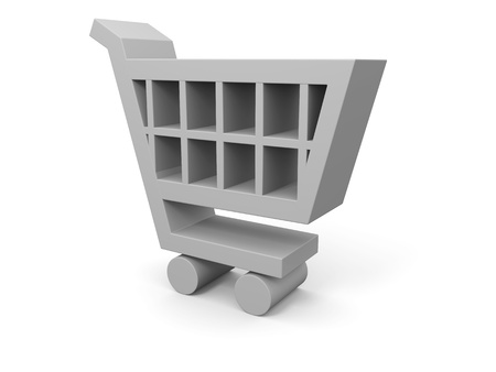 3D illustration of shopping trolley symbol on white background Stock Illustration - 12455067