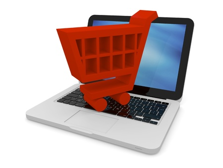 3D illustration of shopping trolley symbol on a laptop Stock Illustration - 12455070