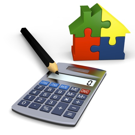 Calculator with pencil and colorful house puzzle photo