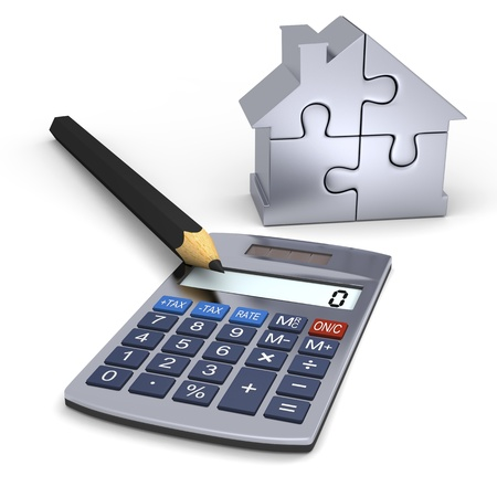 Calculator with pencil and silver house puzzle