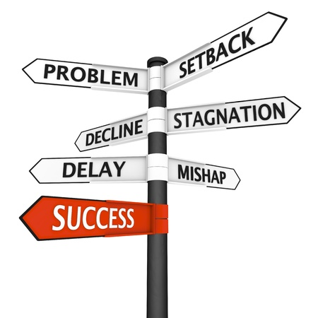 stagnation: Crossroads sign with success direction highlighted in red Stock Photo