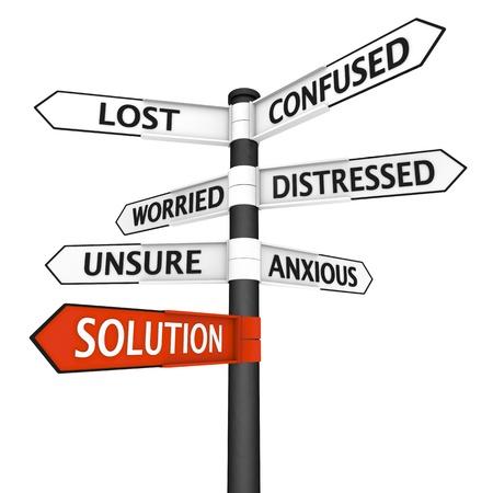 """incertezza: Crossroads segno con direzione """"soluzione"""" evidenziato in rosso Archivio Fotografico"""