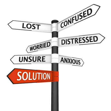 uncertainty: Crossroads sign with solution direction highlighted in red Stock Photo