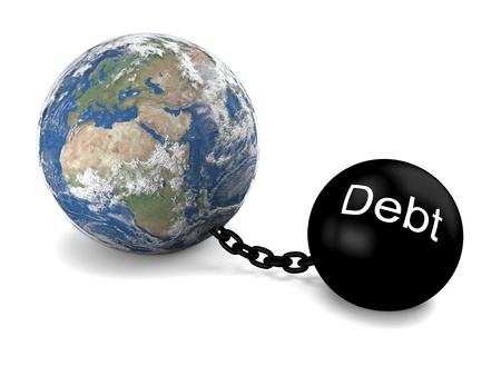 Concept of Earth imprisoned by big heavy debt