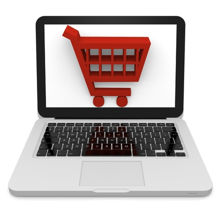 3D illustration of shopping trolley symbol on laptop screen Stock Illustration - 12455099