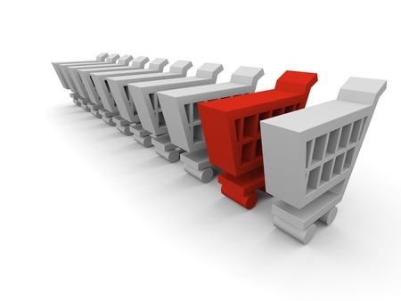 One red shopping trolley in between endless row of grey shopping carts Stock Photo - 12455094