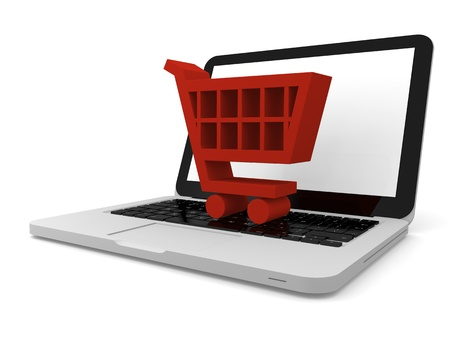 3D illustration of shopping trolley symbol on a laptop Stock Illustration - 12455088