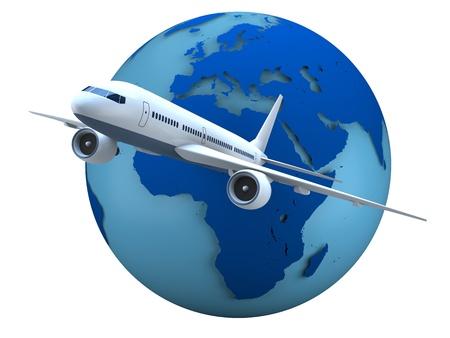 白い背景上に分離されてバック グラウンドで地球の模型を使って旅客機の飛行の概念。Visibleearth.nasa.gov によって提供される地球の地図 写真素材