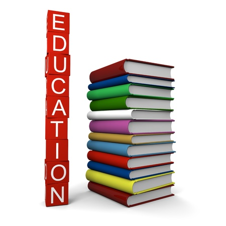 Concept of education with pile of colorful books and education sign made of red blocks