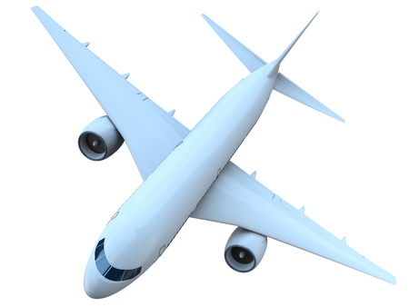 aviones pasajeros: Vista desde arriba de un avi�n de pasajeros volando aisladas sobre fondo blanco Foto de archivo