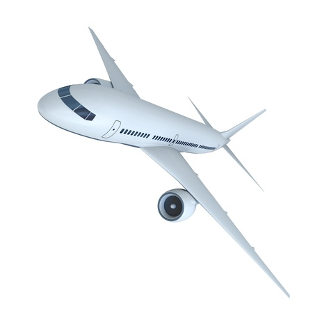 3D model of flying passenger aircraft isolated on white background Stock Photo - 13078733