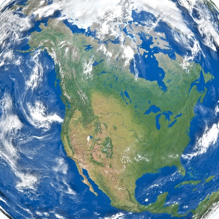 Detailed illustration of North America. Texture of the Earth surface, relief and clouds provided by visibleearth.nasa.gov illustration