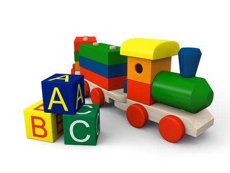 アルファベットの文字とカラフルな木製おもちゃの列車およびブロックの 3 D イラストレーション