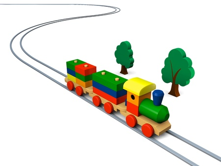 3D illustration of colorful wooden toy train on rails illustration